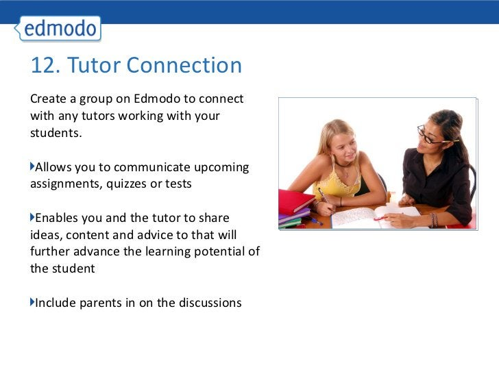 <ul><li>Create a group on Edmodo to connect with any tutors working with your students. </li></ul><ul><li>Allows you to co...