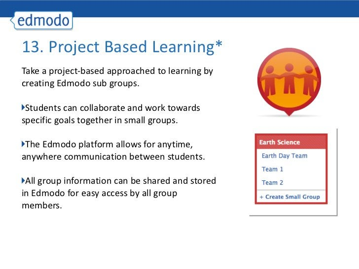 <ul><li>Take a project-based approached to learning by creating Edmodo sub groups. </li></ul><ul><li>Students can collabor...