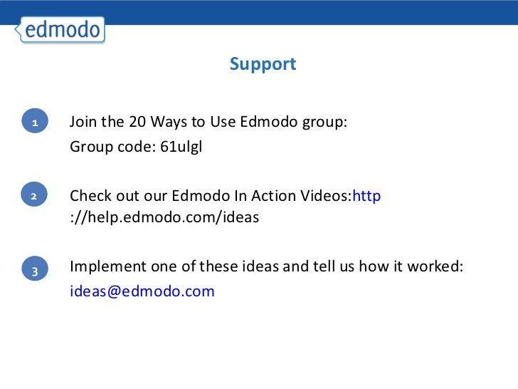 <ul><ul><li>Join the 20 Ways to Use Edmodo group: </li></ul></ul><ul><ul><li>Group code: 61ulgl </li></ul></ul><ul><ul><li...
