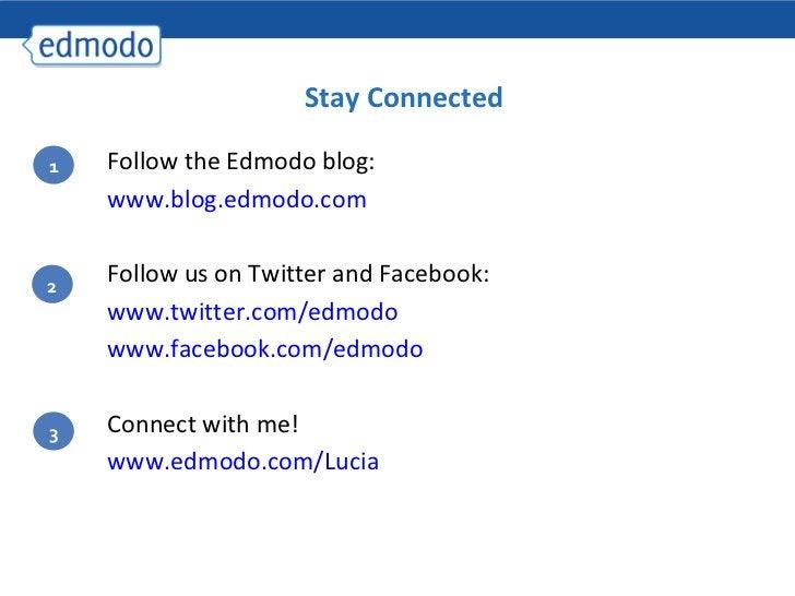 Stay Connected <ul><ul><li>Follow the Edmodo blog:  </li></ul></ul><ul><ul><li>www.blog.edmodo.com </li></ul></ul><ul><ul>...