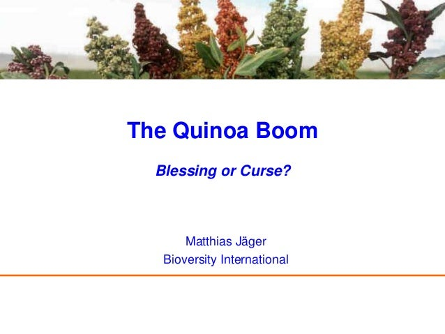 The Quinoa Boom  Blessing or Curse?       Matthias Jäger   Bioversity International