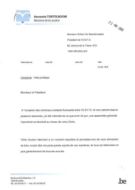 Grève de l'aide juridique - Lettre de Mme Turtelboom