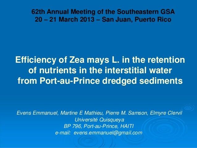 Evens Emmanuel, Martine E Mathieu, Pierre M. Samson, Elmyre Clervil Université Quisqueya BP 796, Port-au-Prince, HAITI e-m...