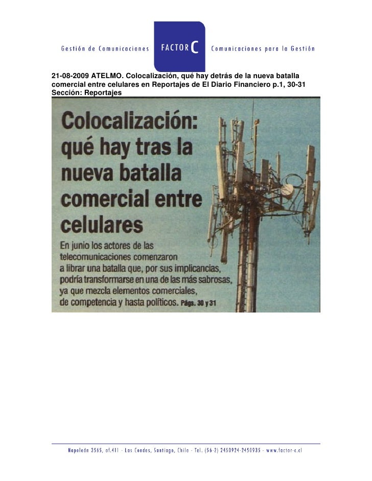 21-08-2009 ATELMO. Colocalización, qué hay detrás de la nueva batalla comercial entre celulares en Reportajes de El Diario...