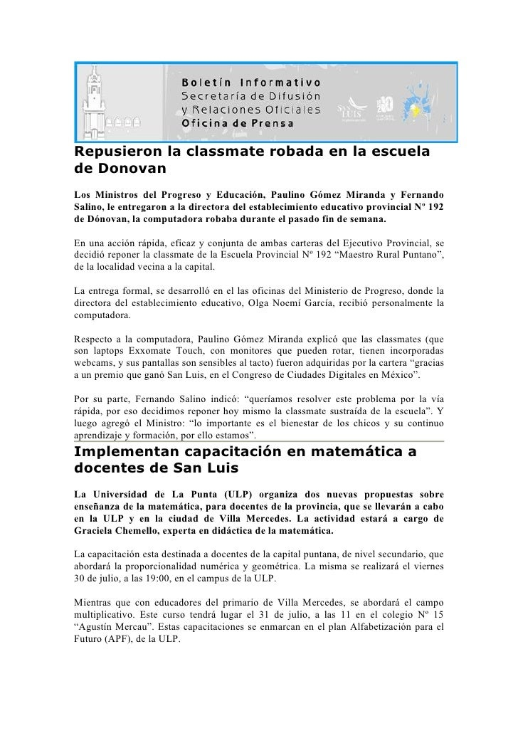 Repusieron la classmate robada en la escuela de Donovan Los Ministros del Progreso y Educación, Paulino Gómez Miranda y Fe...