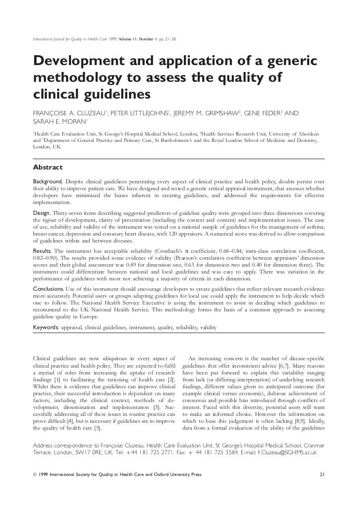 International Journal for Quality in Health Care 1999; Volume 11, Number 1: pp. 21–28Development and application of a gene...