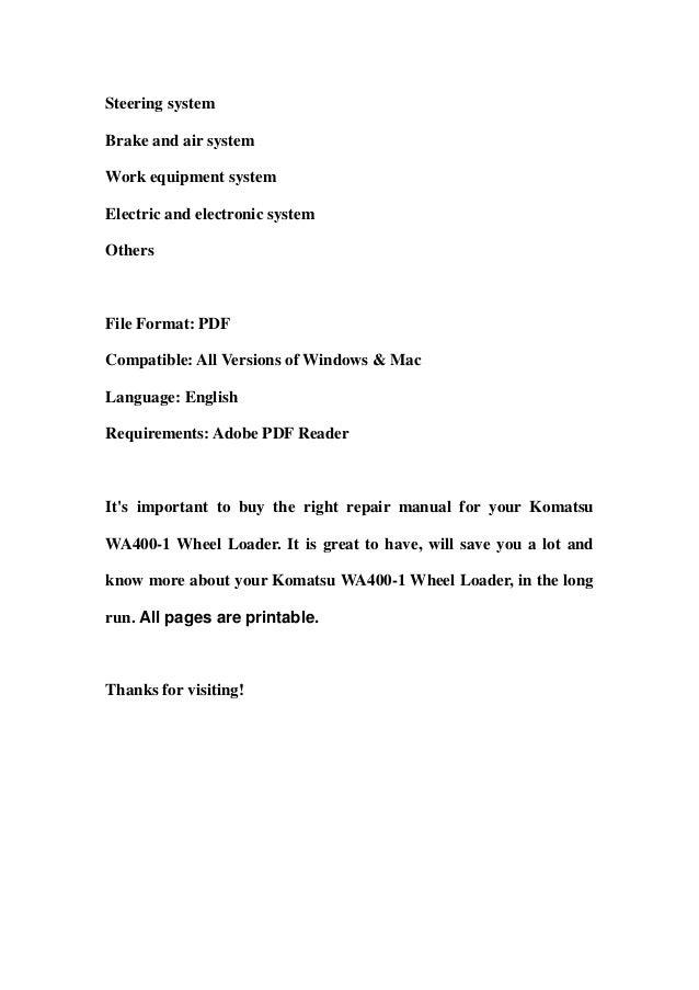Komatsu wa400 1 wheel loader service repair workshop manual download service repair manual coversgeneralenginepower train 2 sciox Gallery