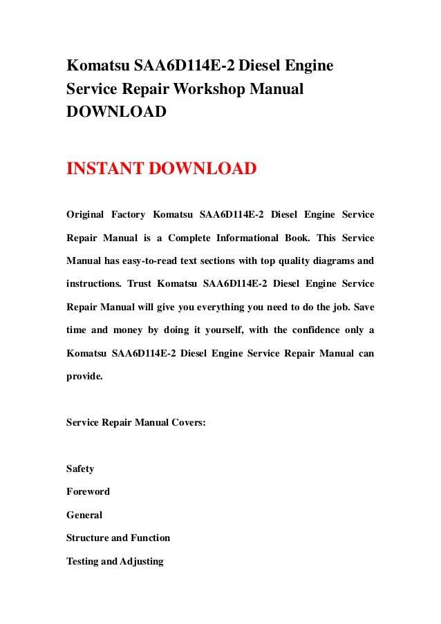 komatsu saa6d114e 2 diesel engine service repair workshop manual down rh slideshare net