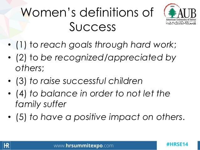 Women's definitions of Success • (1) to reach goals through hard work; • (2) to be recognized/appreciated by others; • (3)...