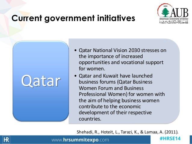 Current government initiatives • Qatar National Vision 2030 stresses on the importance of increased opportunities and voca...