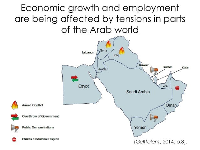 Economic growth and employment are being affected by tensions in parts of the Arab world (Gulftalent, 2014, p.8).