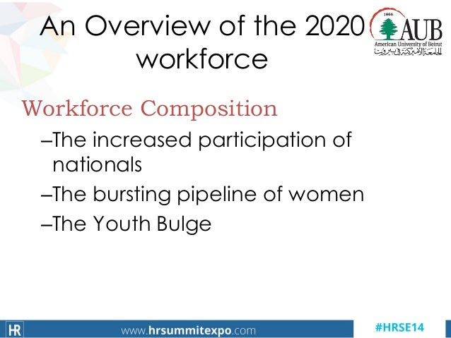 An Overview of the 2020 workforce Workforce Composition –The increased participation of nationals –The bursting pipeline o...