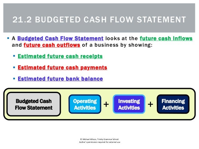21 2 The Budgeted Cash Flow Statement