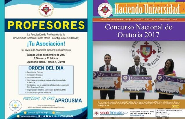 Universidad Católica Santa María La Antigua / 3ra. Etapa / Año 2017 / del 25 al 29 de septiembre / No. 81 Fuente de inform...