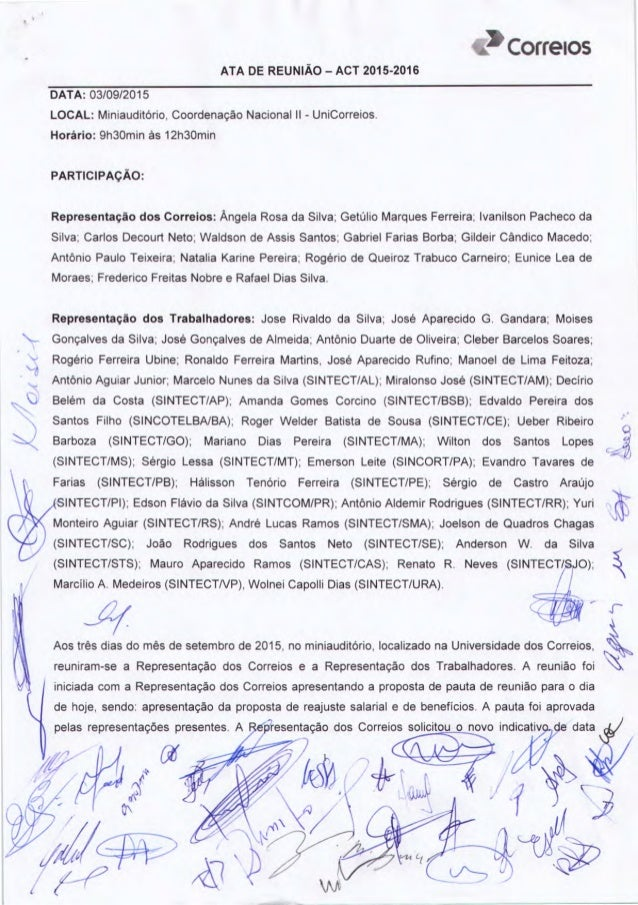 COÍÍGIOS ATA DE REUNIÃO - ACT 2015-2016     DATA:  03/09/2015  LOCAL:  Miniauditório,  Coordenação Nacional ll - UniCorrei...