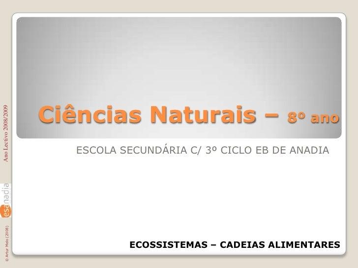 Ciências Naturais – 8º ano<br />ESCOLA SECUNDÁRIA C/ 3º CICLO EB DE ANADIA<br />Ano Lectivo 2008/2009<br />ECOSSISTEMAS – ...