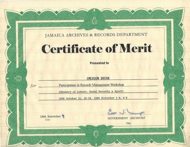 merit certificate records jard workshop management slideshare