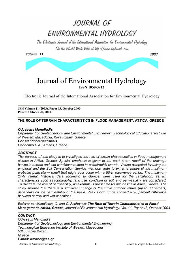 Journal of Environmental Hydrology ISSN 1058-3912  Electronic Journal of the International Association for Environmental H...