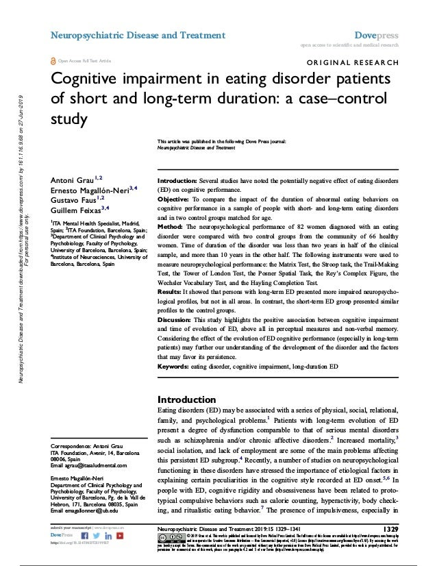 O R I G I N A L R E S E A R C H Cognitive impairment in eating disorder patients of short and long-term duration: a case–c...