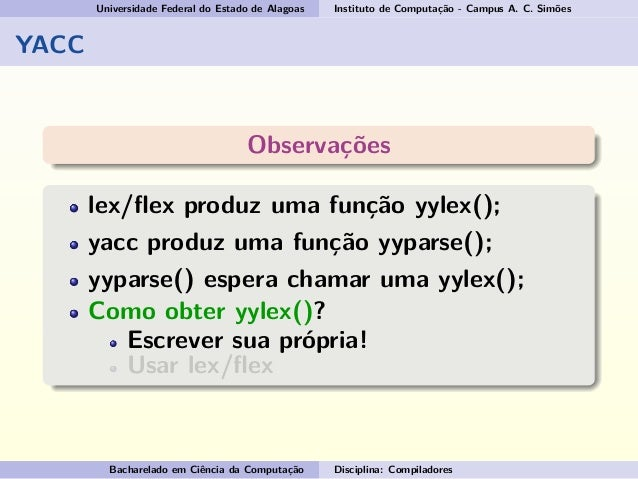 lex and yacc Writing an interpreter with lex, yacc, and memphis memphis examples manuals distribution here is a small example that shows how to write an interpreter with lex.
