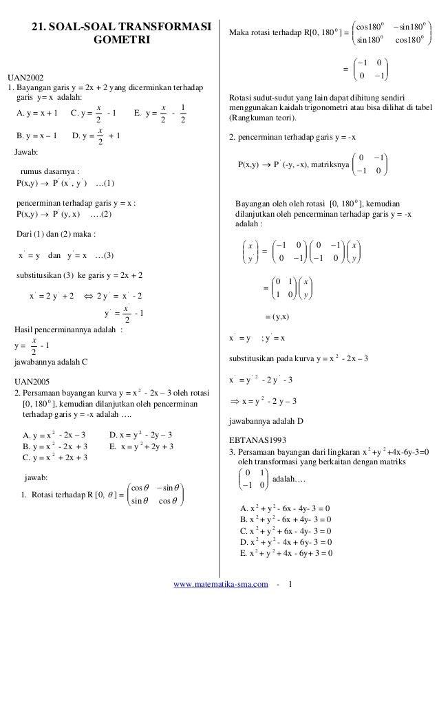 www.matematika-sma.com - 1 21. SOAL-SOAL TRANSFORMASI GOMETRI UAN2002 1. Bayangan garis y = 2x + 2 yang dicerminkan terhad...