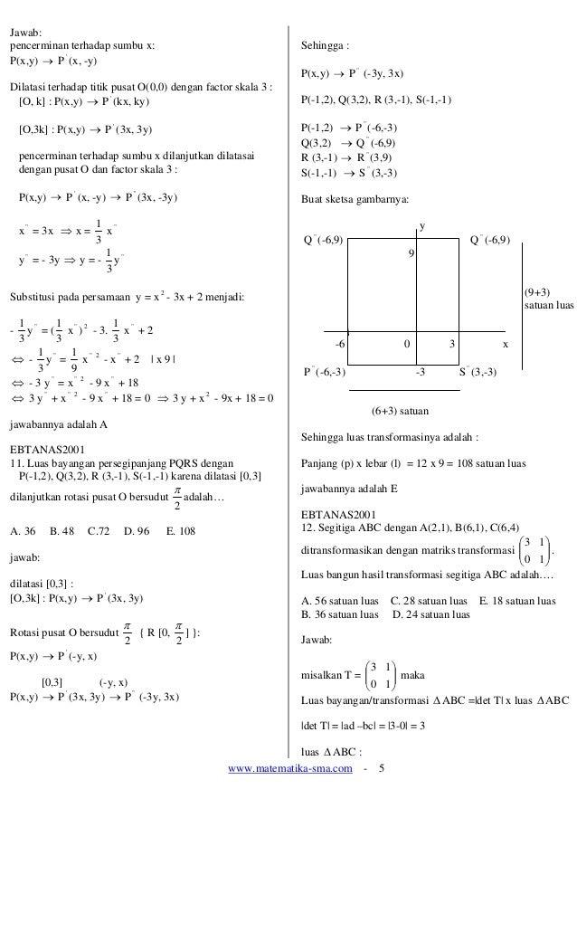 www.matematika-sma.com - 5 Jawab: pencerminan terhadap sumbu x: P(x,y) → P ' (x, -y) Dilatasi terhadap titik pusat O(0,0) ...