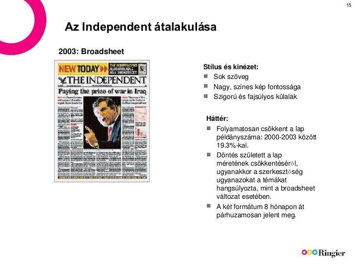 Az  Independent  átalakulása <ul><li>Stílus és kinézet : </li></ul><ul><li>Sok szöveg   </li></ul><ul><li>Nagy, színes kép...
