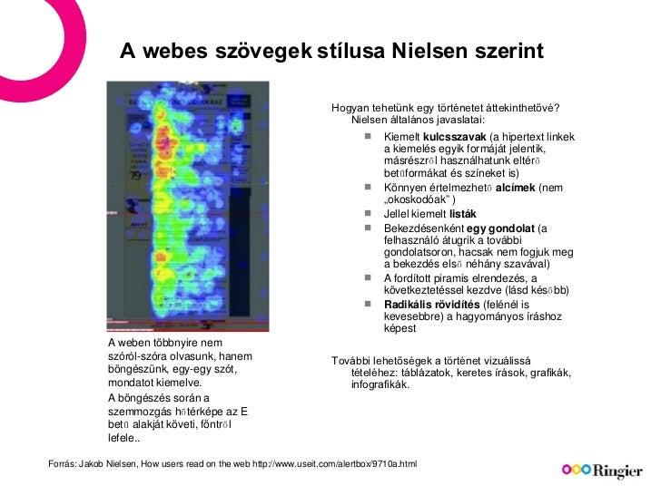 A webes szövegek stílusa Nielsen szerint <ul><li>Hogyan tehetünk egy történetet áttekinthetővé? Nielsen általános javaslat...