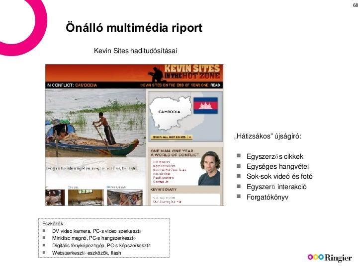 Önálló multimédia riport Kevin Sites  haditudósításai <ul><li>Egyszerzős cikkek </li></ul><ul><li>Egységes hangvétel </li>...