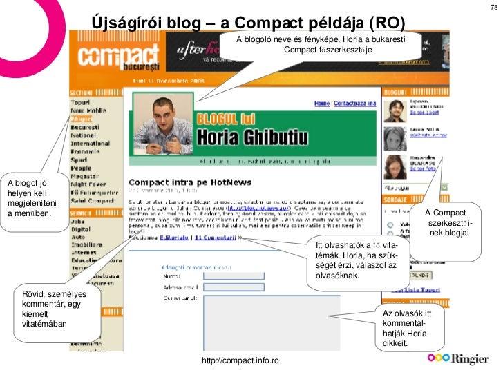 Újságírói blog – a Compact példája (RO) A blogoló neve és fényképe, Horia a bukaresti Compact főszerkesztője A Compact sze...