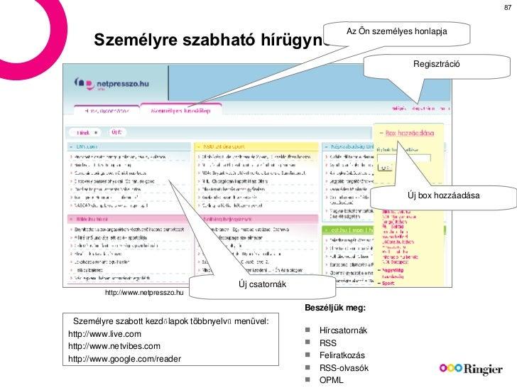 Személyre szabható hírügynökség http://www.netpresszo.hu Az Ön személyes honlapja Regisztráció Új box hozzáadása Új csator...