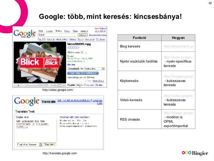 Google: több, mint keresés: kincsesbánya! http://video.google.com/ http://translate.google.com http://reader.google.com  -...