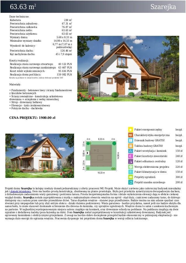 63.63 m2SzarejkaDane techniczne:Kubatura: 230 m3Powierzchnia zabudowy: 47.31 m2Powierzchnia całkowita: 76.87 m2Powierzchni...