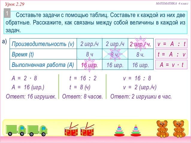 Задачи и решение математика 4 класс решение задач по математике на производительность