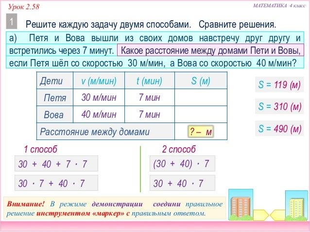 Решение задачи на производительность 4 класс с задача на проценты и график с решениями