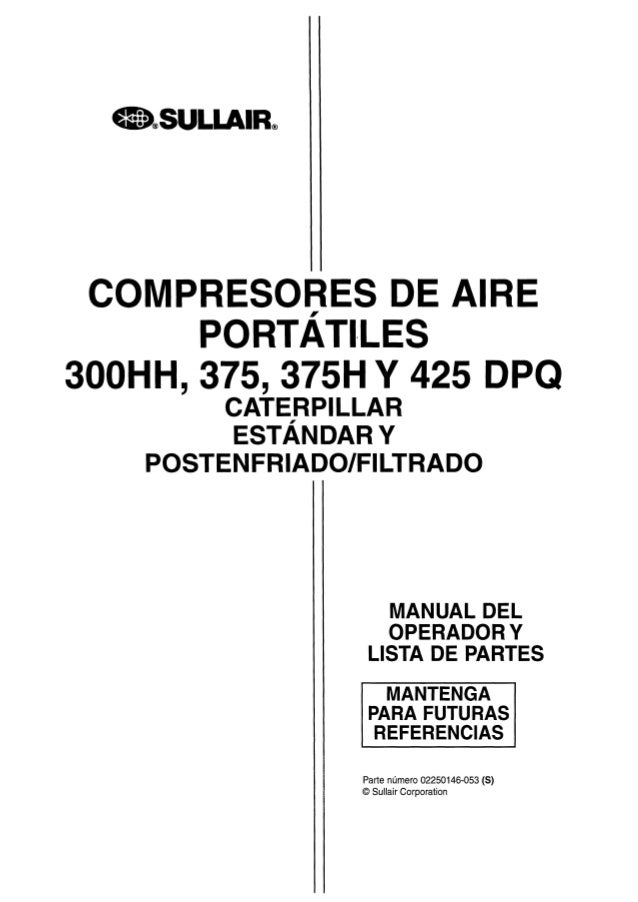 Manual espanol compresor sullair 375 h for Manual de acuicultura pdf