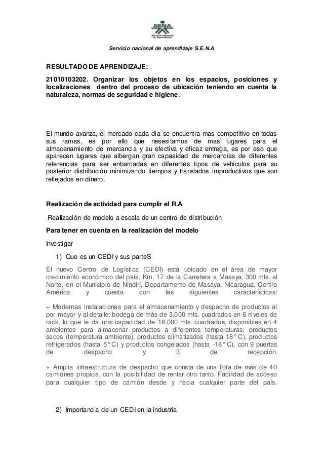 Servicio nacional de aprendizaje S.E.N.A RESULTADO DE APRENDIZAJE: 21010103202. Organizar los objetos en los espacios, pos...