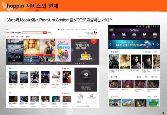 hoppin 서비스의 현재 Web과 Mobile에서 Premium Content를 VOD로 제공하는 서비스                                               1