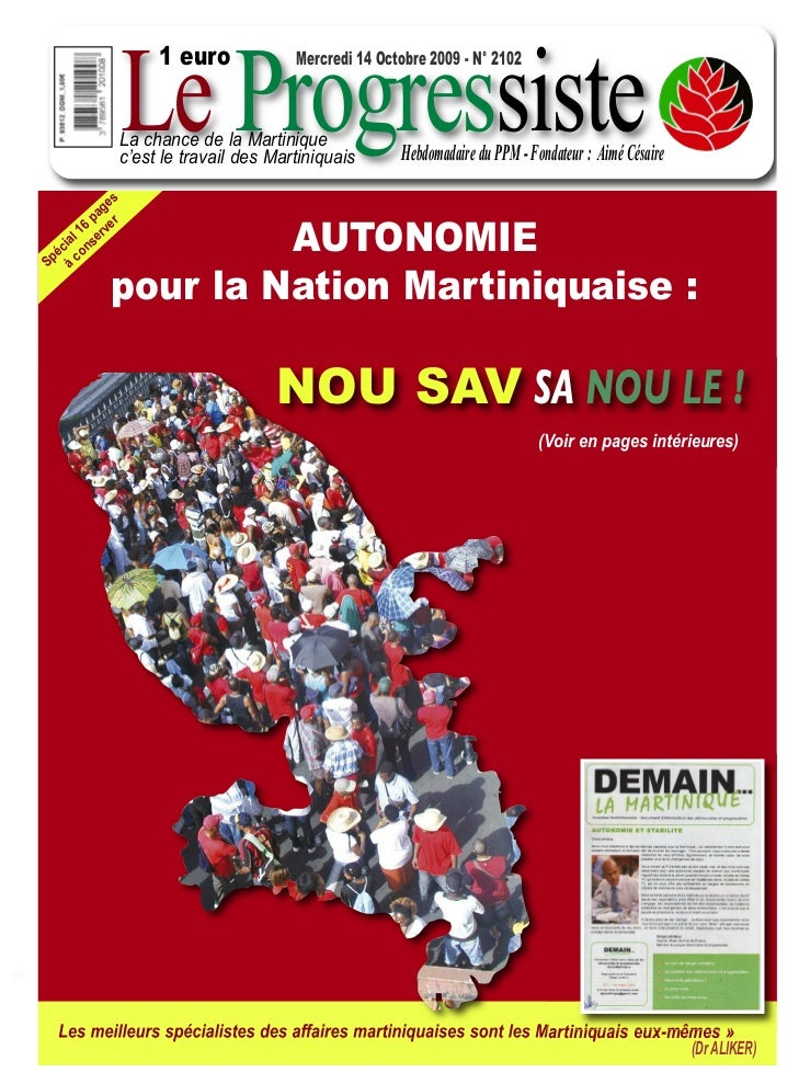 Le Progressiste                    1 euro             Mercredi 14 Octobre 2009 - N° 2102               La chance de la Mar...