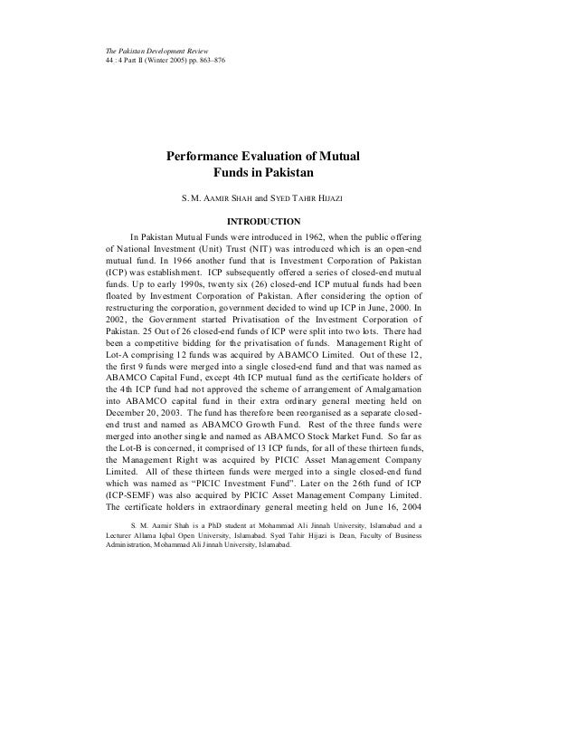 The Pakistan Development Review 44 : 4 Part II (Winter 2005) pp. 863–876  Performance Evaluation of Mutual Funds in Pakist...