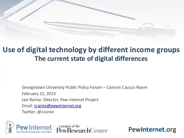 Use of digital technology by different income groups           The current state of digital differences     Georgetown Uni...