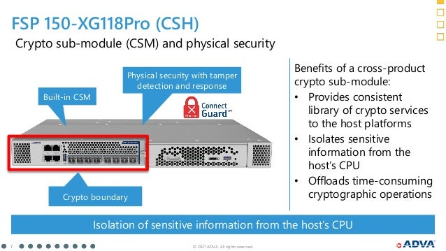 © 2021 ADVA. All rights reserved. 7 Benefits of a cross-product crypto sub-module: • Provides consistent library of crypto...