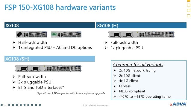 © 2021 ADVA. All rights reserved. 3 FSP 150-XG108 hardware variants XG108 (SH) XG108 XG108 (H)  Half-rack width  1x inte...