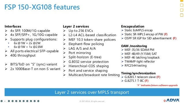 """© 2021 ADVA. All rights reserved. 4 FSP 150-XG108 features """"F"""" indicates future software upgrade Interfaces  4x SFP, 100M..."""