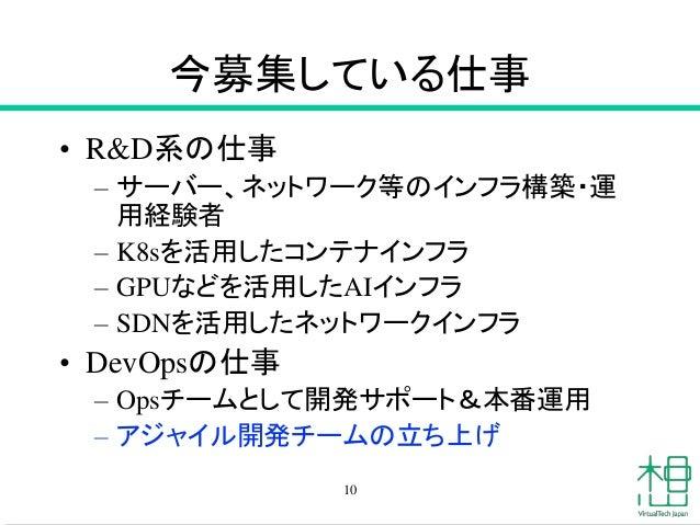 今募集している仕事 • R&D系の仕事 – サーバー、ネットワーク等のインフラ構築・運 用経験者 – K8sを活用したコンテナインフラ – GPUなどを活用したAIインフラ – SDNを活用したネットワークインフラ • DevOpsの仕事 – ...