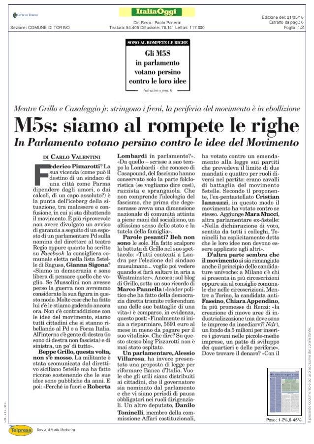 Tiratura: 54.405 Diffusione: 76.141 Lettori: 117.000 Dir. Resp.: Paolo Panerai Servizi di Media Monitoring Sezione: COMUNE...