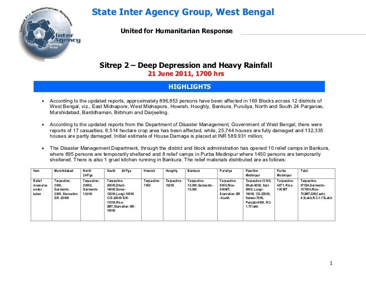 Situation Report - 2 Heavy RainFall , IAG West Bengal