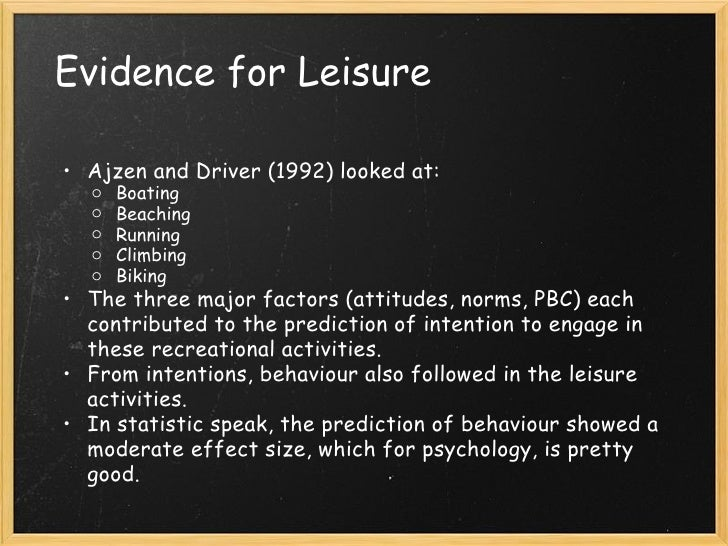 Attitudes and the Theory of Planned Behaviour Applied to Leisure
