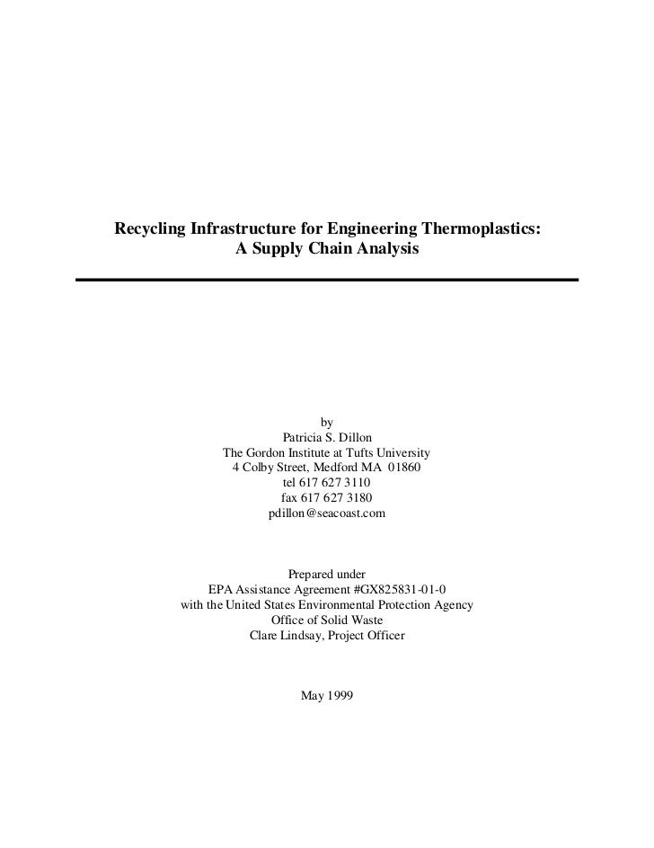 Recycling Infrastructure for Engineering Thermoplastics:                A Supply Chain Analysis                           ...