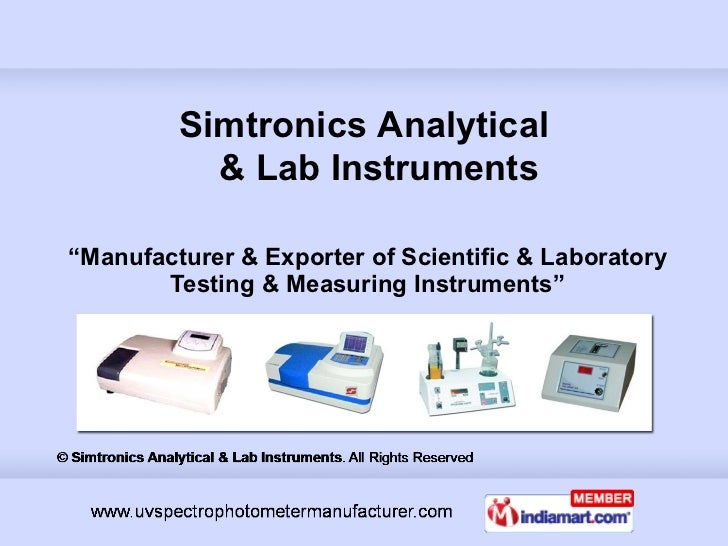 """ Manufacturer & Exporter of Scientific & Laboratory Testing & Measuring Instruments"" Simtronics Analytical   & Lab Instru..."